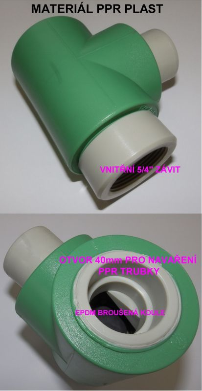 ZV4 Zpětný ventil, zpětná klapka kulová pro tlakovou kanalizaci.